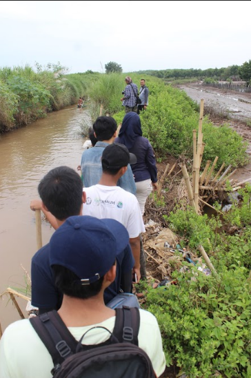 Relawan Menuju Lokasi Penanaman Mangrove di Pesisir Sayung, Kabupaten Demak