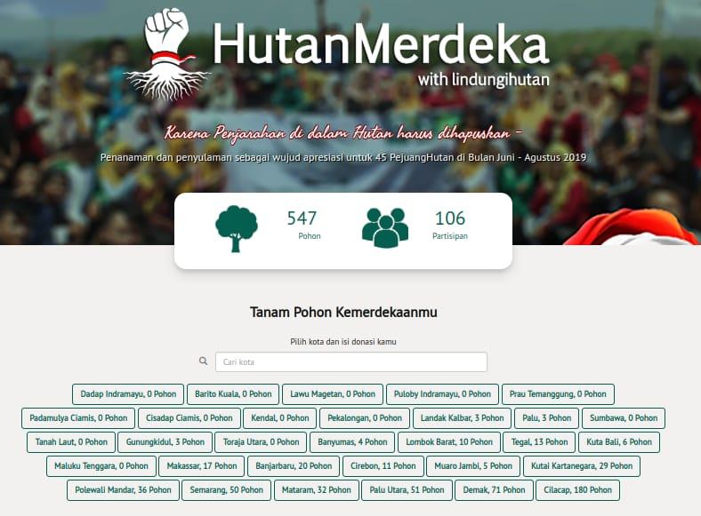 GRAFIS: Tampilan antarmuka webpage #HutanMerdeka