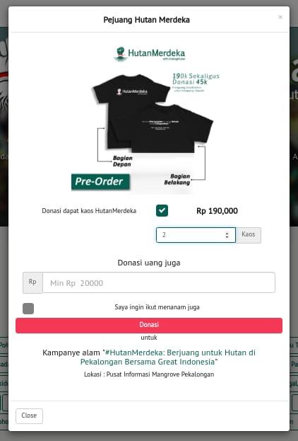 GRAFIS: Form donasi product bundling kaos Pembela Hutan. (LindungiHutan)