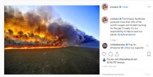 postingan cristiano ronaldo mengenai kebakaran hutan amazon