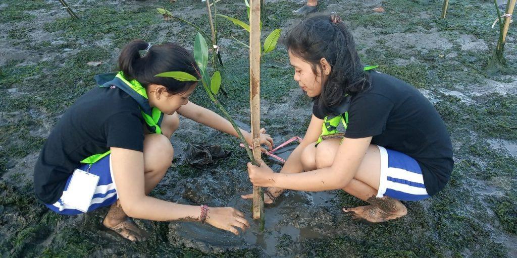 Peserta Gabung Aksi dalam Kegiatan HutanMerdeka with LindungiHutan di Pesisir Kuta, Bali sedang Menanam Bibit Mangrove.
