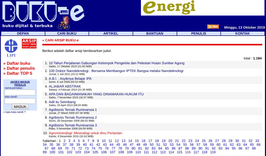 Download Ebook Gratis melalui Buku Elektronik LIPI