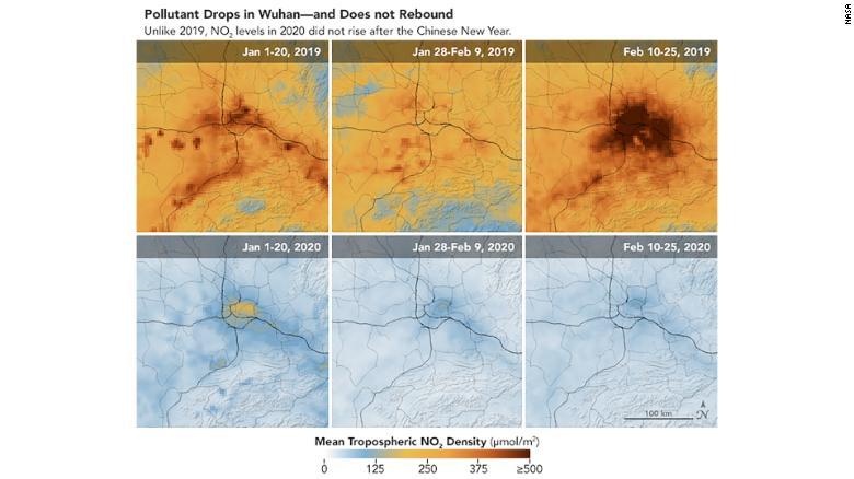 Citra satelit NASA yang menunjukkan penurunan NO2